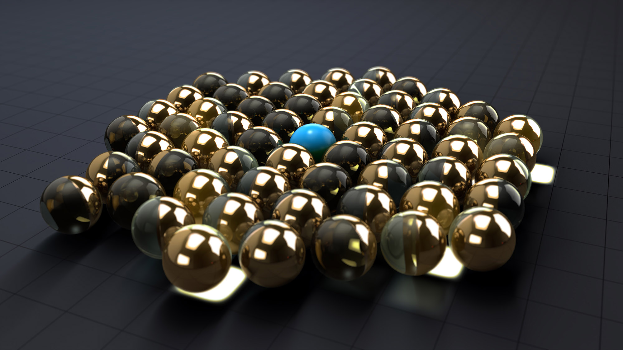 gold and glass spheres moves as one to transport a blue sphere
