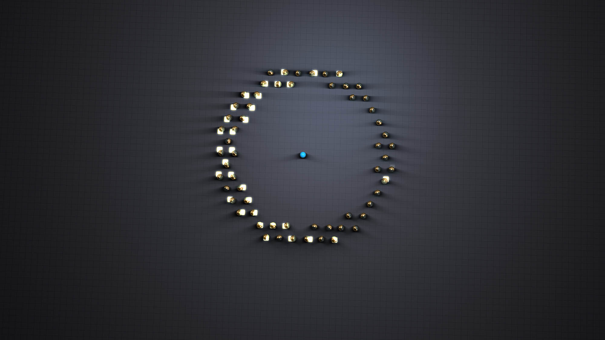 sixty gold and glass spheres on a square grid surround on blue spehere