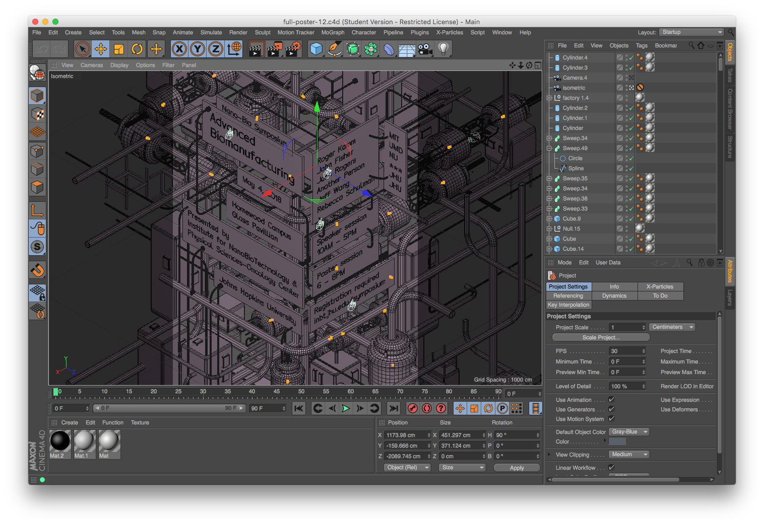 cinema 4d being used for poster layout and composition
